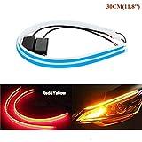 AMAZENAR Ultra-Lumineux 30CM 11,8'Rouge/Ambre Flexible Bande de Tube LED Silicone Circulant Feux de Marche Arrière Feu de Frein Clignotant Ampoule Guide de Voiture (1-Set)