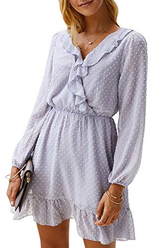 Spec4Y Damen Kleider V-Ausschnitt Vintage Langarm A-Linie Punkte Knielang Picknick Party Swing Herbstkleid 055 Grau Medium