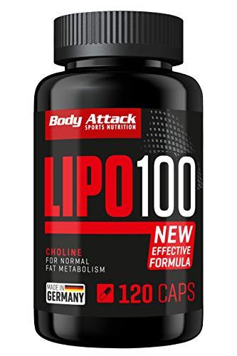 Body Attack Lipo 100 - extrem hochdosierte Formel + Diät, fördert den Fett-Stoffwechsel mit Lipocholin, Koffein, Grüner Kaffeebohnen Extrakt & Synephrin, Made in Germany, 120 Kapseln