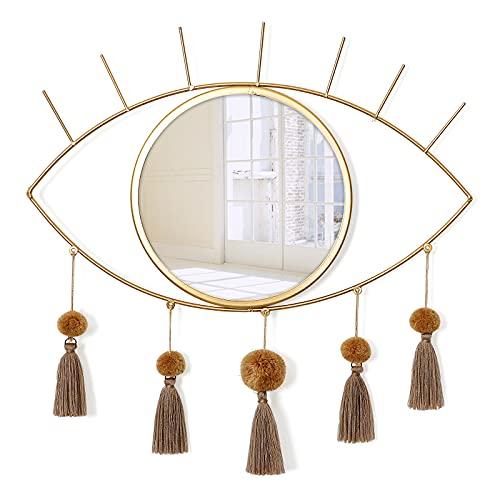 Espejos de pared decorativos de metal con borlas para el mal de ojo, espejo dorado y gran arte de pared para cuarto de baño,...