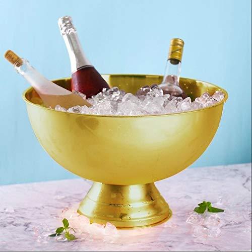 AJMINI Ice Bucket, geïsoleerd roestvrij staal dubbelwandige Ice Bucket, rode wijn, champagne, bier ijs bucket13.5L (verguld)