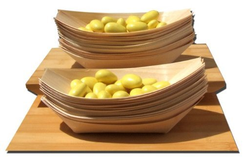 Gifts Of The Orient GOTO - Bambú Madera Barcos Midi X 100 Para Fiesta Alimentos, Snacks, Bocadillos, Canapé 175X85Mm