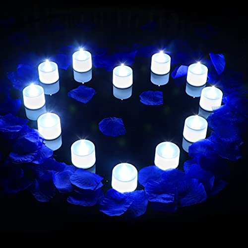600 Artificial Rose Petals with 12 Flameless LED Tea Lights Candle Romantic Flameless Flickering Candle for Romantic Night Valentine's Day Anniversary Wedding Honeymoon (White Light)
