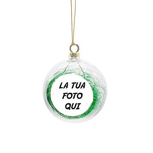 Fashion Graphic Palla Pallina di Natale Grande 8cm Personalizzata con Foto Immagine 5cm Stampa Vari Colori Idea Regalo (Trasparente Verde)