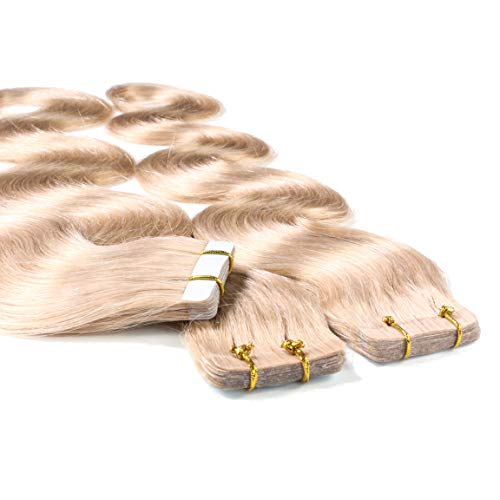 hair2heart 10 x 2.5g Tape In Echthaar Extensions, 40cm - gewellt - #20 aschblond