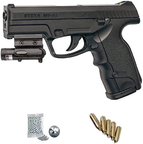 Steyr KITASG GNB Mannlicher M9-A1 LÁSER - Pistola de Aire comprimido (CO2) y balines de Acero (perdigones BBS) Calibre 4.5mm. Réplica + Accesorios <3,5J