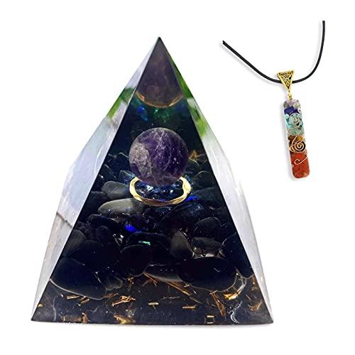 HCHL Pirámide de orgonita, Tigre Amarillo Globo Ocular Turquesa pirámide Cristal energía curación meditación El Juego de pirámide de Cristal con generador de e