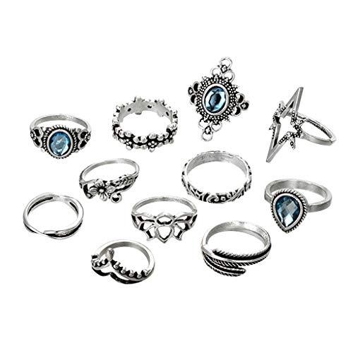 UKtrade 11 unids/set anillos de dedo conjunto para mujeres punk elefante flor ahueca hacia fuera astilla nudillo anillos joyería regalo