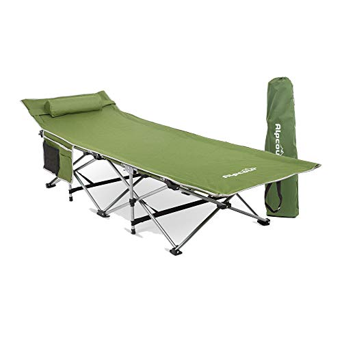 Alpcour Folding Camping Cot – Deluxe Collapsible Large Sleeping Bed for Adults & Kids w/Pillow for Indoor & Outdoor – Lightweight, Heavy Duty...