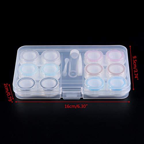 S-TROUBLE 1 Set Kontaktlinsenkoffer 6 Kartons Einfacher transparenter, auslaufsicherer, tragbarer Aufbewahrungsbehälter für die Augenpflege Kit Organizer Container