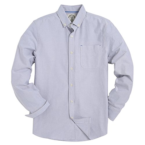 Piero Lusso Men's Long Sleeve Shirt Regular Fit Solid Color Oxford Casual Button Down Dress Shirt Gray Small