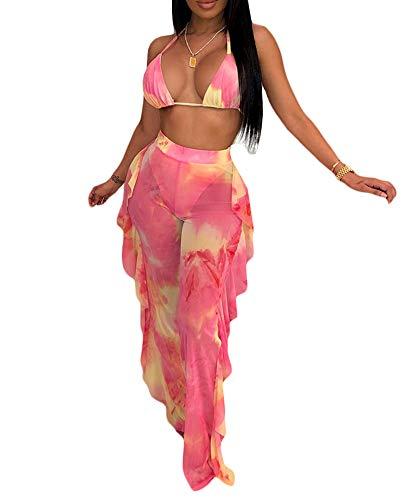 Ophestin Womens Sexy Halter Sheer Bikini Ruffle Long Pants Set 2 Piece Swimsuit Pink Size XL
