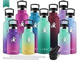 KollyKolla Gourde INOX Isotherme, Bouteille d'eau avec Paille & Filtre sans BPA, Isolation à Double Paroi en Acier Inoxydable, pour Enfant & Adulte, Sport, Gym, (350ml Macaron Vert + Emeraude)