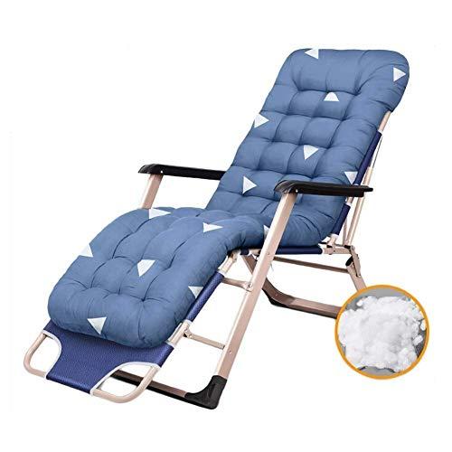 WJXBoos La Silla de jardín del sillón reclinable de Patio de Gravedad Cero en casa y al Aire Libre La Silla de Playa Plegable portátil con Cama Solar soporta 200 kg (Color: Azul, Tamaño: con Cojines)