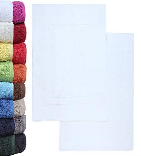 NatureMark - Lot de 2 Tapis de Bain, 100% Coton, 50x80cm, Blanc