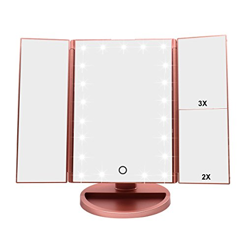 WEILY Tri-Fold Lighted Vanity Makeup Mirror with 21 LED Lights, Touch Screen and 3X/2X/1X Magnification Mirror, 2 Power Supply Modes Tabletop Cosmetic Mirror, Magnifying Travel Mirror (Rose Gold)