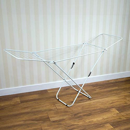 Klappbarer Flügelwäscheständer aus Metall, weiß, Wäschetrockner von Home Vida