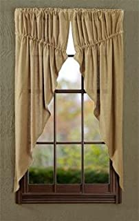 VHC Brands Classic Country Farmhouse Window Burlap Tan Prairie Curtain Pair, 63