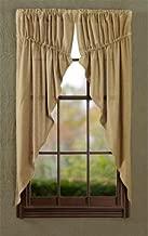 VHC Brands Classic Country Farmhouse Window Burlap Tan Prairie Curtain Pair, 63