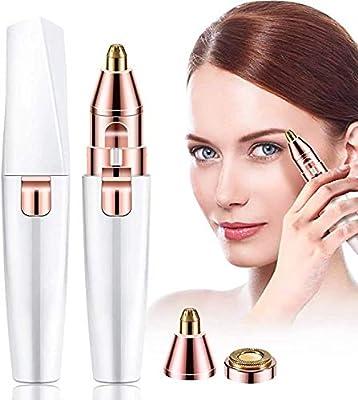Facial Hair Razor,Eyebrow Hair Remover Trimmer Epilator for Face Lips Facial,2 in 1 Rechargeable Hair Remover Eyebrow Razor for Women (White)