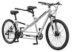 Hit the road with a friend with the Schwinn Twinn Tandem Bicycle. This Schwinn aluminum tandem frame features an extra low step-thru rear bar to comfortably fit smaller riders. A 21-speed Shimano EZ-Fire trigger shifters and a Shimano rear derailleur...