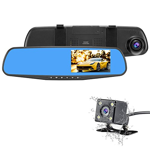 NEXGADGET Car Dash Cam, 4.3' LCD FHD 1080p Dual Lens Car Camera Front and Rear DVR Video Recorder Vehicles Camera with Car Charger One USB Port