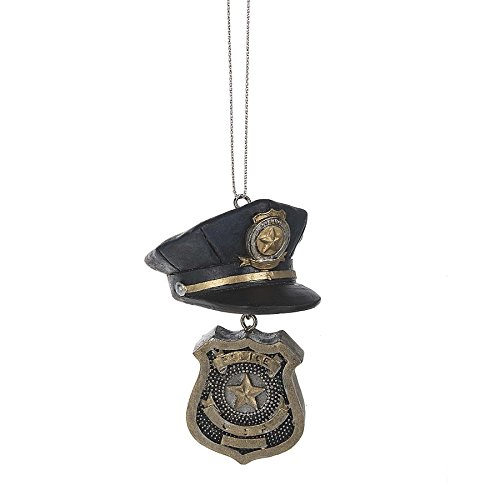 Midwest-CBK Police Officer Hat & Badge 2 x 4 Inch Resin Christmas Ornament Figurine