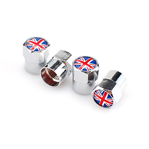 Goliton® Bandiera britannica Mini Metal Car valvola della gomma della valvola del pneumatico dell'ugello tappi