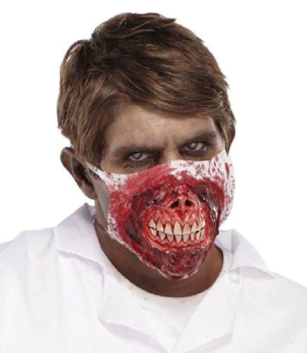 Zombie Face Mundbedeckung Mund und Nasen Maske zum Aufsetzen Halloween Kostüm Schocker Zombiewalk Flashmob Kracher
