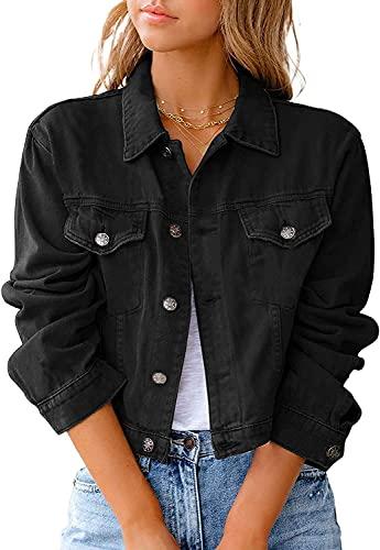 Winkinlin Womens Denim Jacket Crop Style Long Sleeve Button Up Slim Fit Vintage Jean Jacket for Ladies Girls (Black, Large)