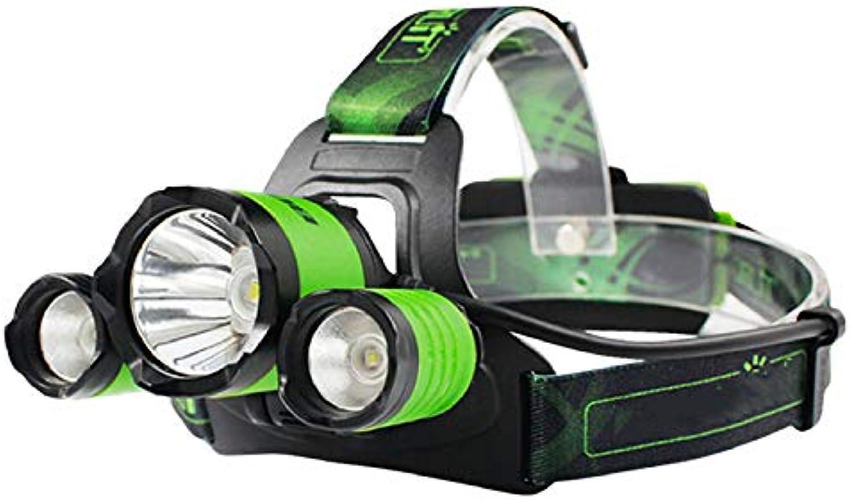 MYJ Scheinwerfer, 3Led L2 Blendung Für Auenfischerei SOS-Pfeifenscheinwerfer, Grüne Einzelscheinwerfer, USB-Ladescheinwerfer,Grün,A