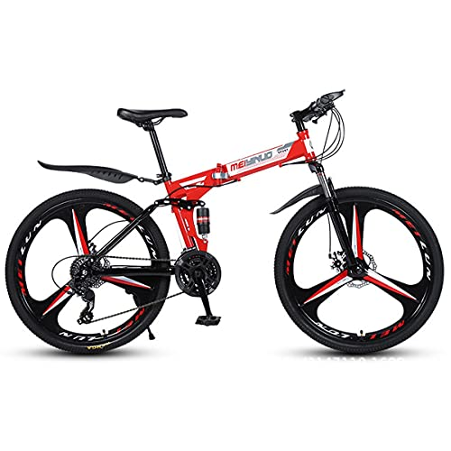 Adult Mountain Bike 24/26 Inch City Cross-Country Folding Bicycle Double Shock Absorber 21/24/27 Speed Adult Bicycle Disc Brake
