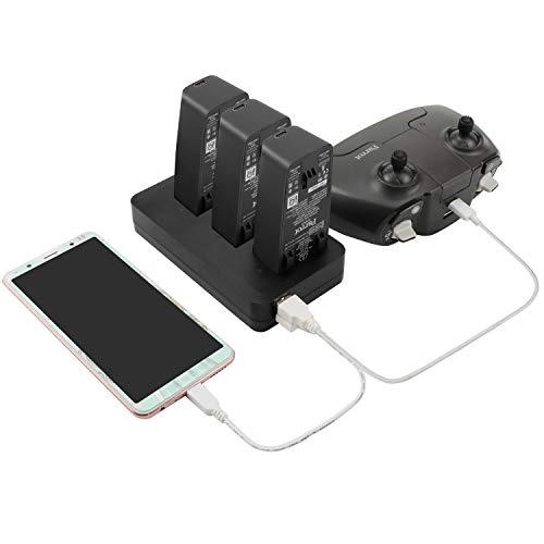 RC GearPro Parrot Anafi Akku-Auto-Ladegerät, Intelligentes 3-in-1 Multi Akku Lade-Hub für Anafi Drohne Zubehör