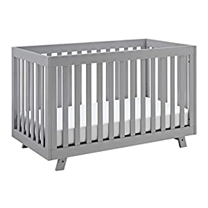 Stork Craft Beckett 3-in-1 Convertible Crib, Pebble Gray, Fixed Side Crib, Solid Pine and Wood Product Construction, Converts to Toddler Bed or Day Bed (Mattress Not Included), Crib + Two beds