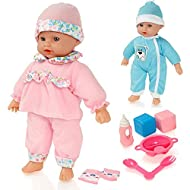 """Sweet Sounds Lil' Baby by Molly Dolly is a delightful 30cm soft bodied baby doll that speaks 6 delightful baby words and sounds. Press her tummy to hear her laugh and cry or talk such as """"Mama"""" or """"Bye Bye"""". Perfectly Sized First Doll - The sensitive..."""