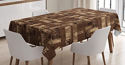 """Ambesonne Coffee Tablecloth, Cafeteria Pattern with Hot Mocha Latte Milk Love Typography on Scribble Backdrop, Dining Room Kitchen Rectangular Table Cover, 52"""" X 70"""", Beige Brown"""