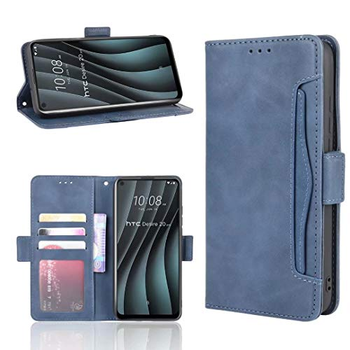Luckyandery Schutzhülle für HTC Desire 20 Pro, HTC Desire 20 Pro, mit Standfunktion, Klappdeckel, integrierter Kartenhalter, Blau