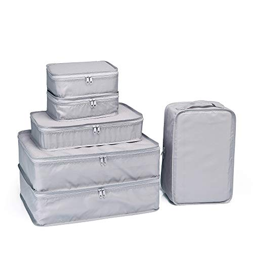 JJ POWER Travel Packing Cubes, Luggage Organizers with Shoe Bag (Grey)
