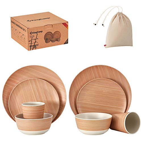 KingCamp Reusable Bamboo Dinnerware Set for 1-4 Guest- Bamboo Fiber Takbleware Set for Adult&Kids-Bamboo Plates, Cup and Bowls(corn grain)
