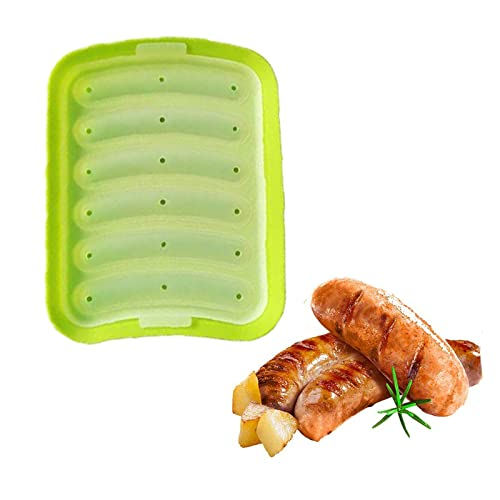 XCOVIE Molde de Silicona para Hornear con, Molde de Salchicha para Hot Dogs caseros, sin BPA, Molde de Hot Dog para Horno y microondas (Green)