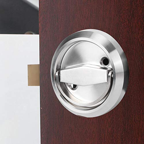 Emoshayoga 304 Stainless Steel Double‑Sided Lock Door Lock Parts for Comfortable switch for Open Close Door(Silver (with lock))