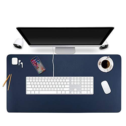 "Desk Pad Protector Office Desk Mat, BUBM Waterproof PU Leather Desk Writing Mat Laptop Large Mouse Pad Desk Blotters Desk Decor for Office Home, 35.4"" x 17"" Dark Blue"