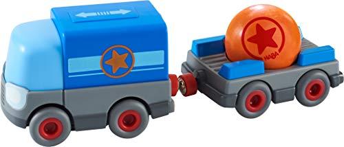 HABA 304820 - Kullerbü – Batterie-LKW mit Anhänger, Zubehör für alle Kullerbü-Bahnen, mit...