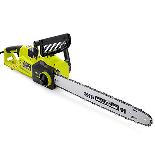 Electric Chainsaw, 15A Corded Chainsaw, 18-in Bar with 43 ft/s Chain Speed, LED Power Indicator, Auto- Lubrication, Easy Assembly, RCS03A