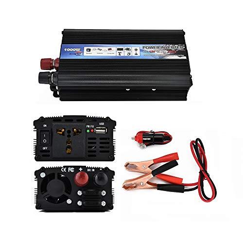Auto-omvormer, DC omvormer, AC 12 V/24 110 V/120 V, 1000 W (peak), autoconverter, Sine Wave, type aangepast, met uitgangen en USB-laadaansluitingen 24VTO110V