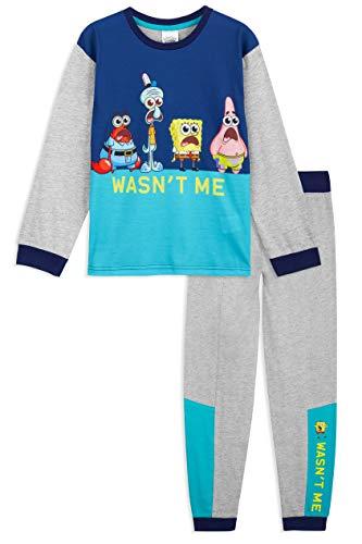 SpongeBob Schwammkopf Schlafanzug Jungen Lang, Zweiteilig Pyjama Kinder Jungen Mädchen und Teenager, Lustig Cartoon Schlafanzug Kinder 2-14 Jahre (4-5 Jahre)