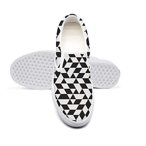 LOKIJM Black and White Triangles Checkerboard Walking Shoes for Women Athletic Wear-Resistant Best Running Shoes