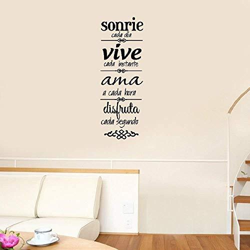 etiqueta de la pared Vida amorosa Lema sonrie cada dia vive ama para la sala de estar Dormitorio