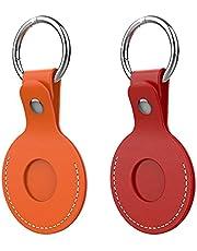 ORNARTO Cover in Pelle Compatibile con Portachiavi AirTag, 2 Pack PU Pelle Custodia per AirTag 2021,Rosso/Arancio