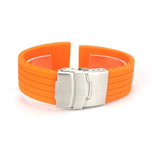 Japace Sport Cinturino da Polso Impermeabile Bracciale Cinghia in Silicone Accessori per Orologio Rubber Wristband Bracelet Strap Band for Watch 22mm - Arancio
